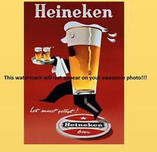 Vintage Heineken Beer Ad PHOTO, Bar Sign Liquor Pub Bier Glass Advertisement