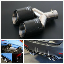 Carbon Fiber & Stainless Steel 63-89mm Car Glossy Exhaust Pipe Tail Muffler Tip