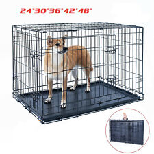 """24""""30""""36""""42""""48"""" Dog Crate Kennel Folding Pet Cage Metal 2Door With Black Tray Us"""