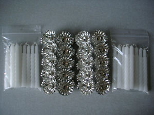 20 Metal Silver Clip On Candle Holders & 20 White Spiral Candles Christmas Tree