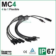 Unlimited Solar 4 to 1 Flexible Solar Panel MC4 Parallel Connector set - IP 67