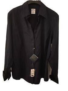 NEW Brooks Brothers 346 Stretch No Iron Shirt Size 16 L XL Dark Navy NWT