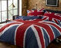 UNION JACK RED WHITE BLUE SINGLE COTTON BLEND DUVET COVER SET