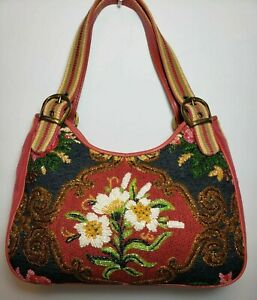 ISABELLA FIORE FLORAL TAPESTRY  EMBROIDERED GLASS BEADED SHOULDER BAG MINT$495
