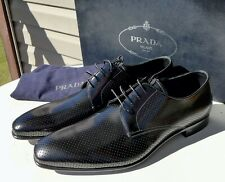 NEW SPAZZOLATO PRADA Perforated BLACK PATENT Leather LACEUP OXFORD Dress Shoes 8