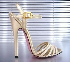 MORI ITALY SANDALS HIGH HEELS SANDALETTE SANDALI SCHUHE LEATHER BEIGE NUDE 45