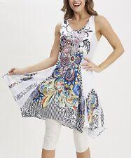 #396 Ladies Designer UK 14 / 16 Black & Blue Abstract Sleeveless Tunic Dress