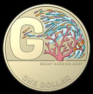 2021 AUSTRALIA $1 DOLLAR RARE COLOUR GREAT BARRIER REEF A-Z AUSSIE COIN HUNT UNC