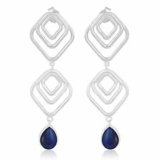 Lapis Lazuli Gemstone Handmade 925 Silver Bollywood Drop Earrings Jewelry