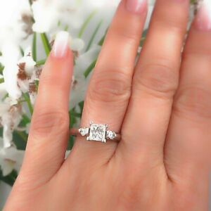 Princess Three Stone Diamond Engagement Ring 2.00 ct 14k White Gold $15K Retail