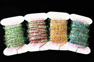 4 Cards 20m Tinsel Chenille Crystal Flash Multicolor Line Fly Tying Materials