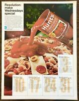 1968 Hunt's Tomato Sauce Print Ad Make Wednesdays Special Macaroni Pizza Style