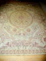 VINTAGE FRENCH PASTEL AUBUSSON NEEDLEPOINT RUG WOOL FARMHOUSE MID CENTURY