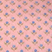 "46"" W Vintage Cotton Fabric, Small Blue Roses on a Pink Background, Per 1/2 Yd"