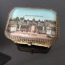 Coffret Reliquaire XIXè Fixé Sous Verre Palais Fontainebleau Eglomise Box 19thC