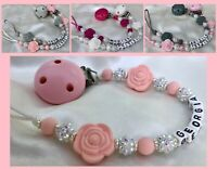 ♕ Personalised DUMMY CLIP ♕ Max 7 Letters ♕ SILICONE ROSE & SPARKLE ♕ 7 Colors♕