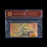 WR Australian $5 Federation 2001 Gold Five Dollars Colourised Poly Banknote +COA