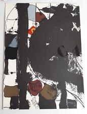 Josep Guinovart 1976 Litografía Original Impresión Abstracta Negro Rojo Marrón Caqui