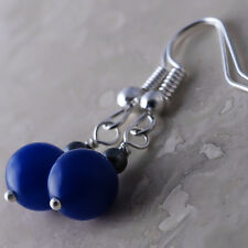 Silver Plated Dangle Fish Hook Earrings Jadeite Dark Blue Hematite Ball