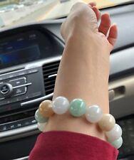 ~60MM Certified Grade A - SHINNY Green Yellow White 三彩 Jadeite Beads Bracelet
