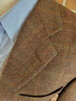 Samuelsohn Plaid Blazer 42 R Wool Cashmere Brown Rust Windowpane