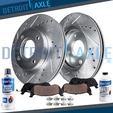 For 2006 - 2011 Hyundai Accent Kia Rio Front Drilled Brake Rotors + Ceramic Pads