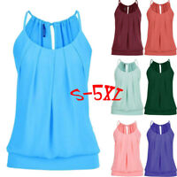 Hot Women Casual Loose Wrinkled O Neck Cami Tank Vest Summer Tops Blouse T-Shirt