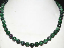 natural 8mm fine Red Green Ruby Zoisite Round Gemstone beads gems Necklace 18""