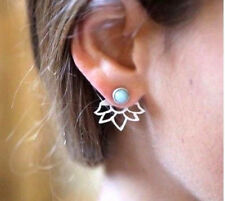 SILVER LOTUS FLOWER TURQUOISE DOUBLE EAR JACKET STUD EARRINGS