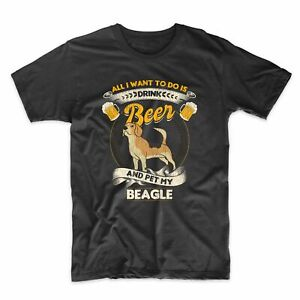 All I Want To Do Is Drink Beer And Pet My Beagle Funny T-Shirt