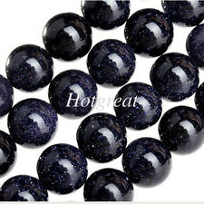 98 Pcs 4mm Wholesale Natural Blue Sand Stone Round Loose Beads Gemstone Strand