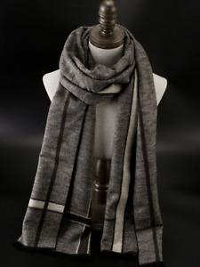 100% Mulberry Silk brushed nap Scarf men Women Wrap striped plaid brown QS206-9