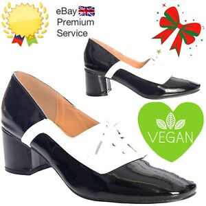 Banned Apparel Retro Black White 60s The Modernist Two Tone Lace Patent Shoes