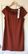 MARKS AND SPENCER M&S RUST ORANGE FRILL SHIFT DRESS UK 14 NEW