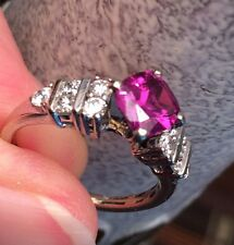 18 Kt. Synthetic Alexandrite  and Diamond Ring  / Color Change / 1.32 Cts Tw.