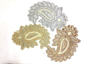 1xBridal Lace Applique Rhinestones Wedding Dress Motif Embroidery Beaded Patch
