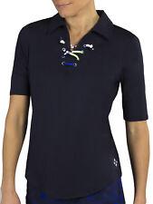 JoFit Women's Ladies Golf Lace Up Half Sleeve Polo Shirt - Midnight - Pick Size