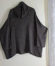 NEW Eskandar 1 Bronze Lux Brown Crinkled Silk Monk Cowl Neck Blouse Shirt Top