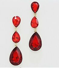 "3"" Long Drop Red Gold Dangle Rhinestone Crystal Teardrop Pageant Earrings"