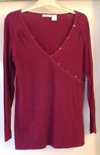 Ladies Red Long sleeve crossover v neck top. Edeis by La Redoute. Size 12.