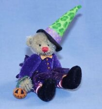 """DEB CANHAM'S """"SABRINA"""" BROWN MOHAIR WITCH BEAR-5"""" DRESSED IN PURPLE-GREEN HAT"""
