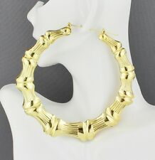 "huge Gold hoop earrings BIG XXL hoops bamboo 4"" door knocker hollow metal"