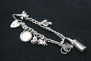 .925 Sterling Silver Charm Bracelet With Souvenir, Coin (40g)