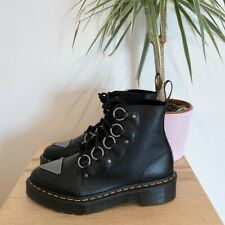 DR MARTENS BNIB FARYLLE BLACK LEATHER CHUNKY BOOTS O RING 6.5 40 METAL PLATFORM