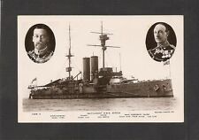 RPPC:  HMS AFRICA - BRITISH WW-1 BATTLESHIP w/ ADMIRAL JELLICOE & KING GEORGE V