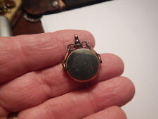 set inscribed 1903 America old estate Gold plated watch fob with dark green