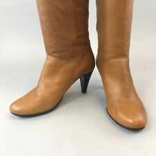 Vtg Oasis Tan Brown Leather Knee High Pull On Heeled Booties Boots Size 38 UK5