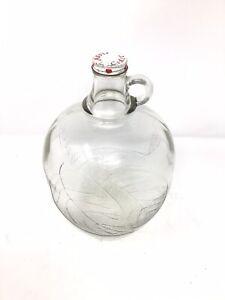 Vintage Apple Cider Embossed Glass Jug 50's Fall Autumn Harvest Home Brew Handle