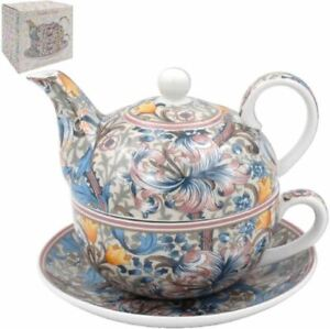 OFFICIAL WILLIAM MORRIS GOLDEN LILY PINK TEA FOR ONE TEAPOT CUP SAUCER NEW