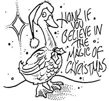 Unmounted Rubber Stamp, Holiday Stamps, Goose with Santa Hat, Magic of Christmas